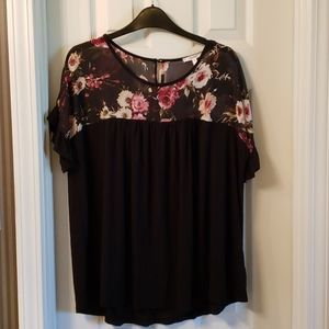 3 for $20 Maurices Black Tee with Floral Neckline